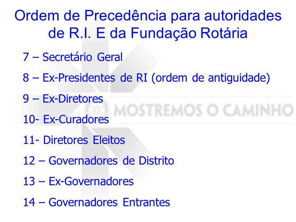 Ordem de Precedência para autoridades de R.I. E da Fundação Rotária 7 – Secretário Geral 8 – Ex-Presidentes de RI (ordem de antiguidade) 9 – Ex-Direto