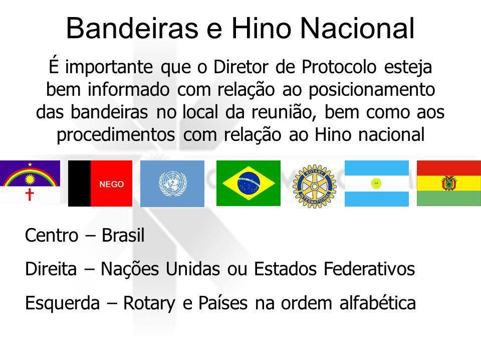 Bandeiras e Hino Nacional É importante que o Diretor de Protocolo esteja bem informado com relação ao posicionamento das bandeiras no local da reunião, bem como aos procedimentos com relação ao Hino nacional Centro – Brasil Direita – Nações Unidas ou Estados Federativos Esquerda – Rotary e Países na ordem alfabética