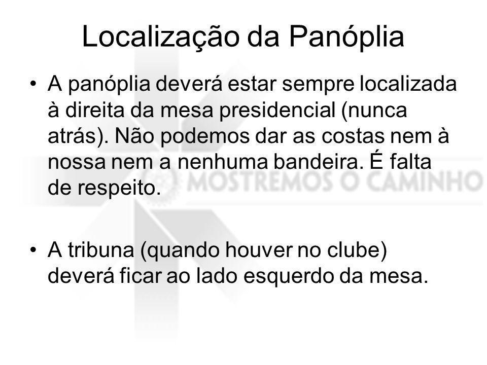 Localização da Panóplia A panóplia deverá estar sempre localizada à direita da mesa presidencial (nunca atrás).