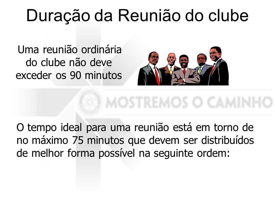 Duração da Reunião do clube Uma reunião ordinária do clube não deve exceder os 90 minutos O tempo ideal para uma reunião está em torno de no máximo 75