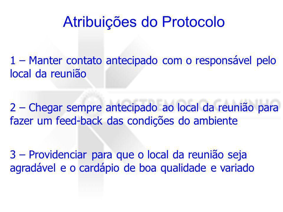 Atribuições do Protocolo 1 – Manter contato antecipado com o responsável pelo local da reunião 2 – Chegar sempre antecipado ao local da reunião para f