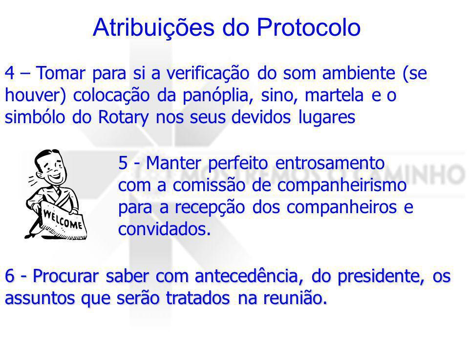 6 - Procurar saber com antecedência, do presidente, os assuntos que serão tratados na reunião. Atribuições do Protocolo 4 – Tomar para si a verificaçã