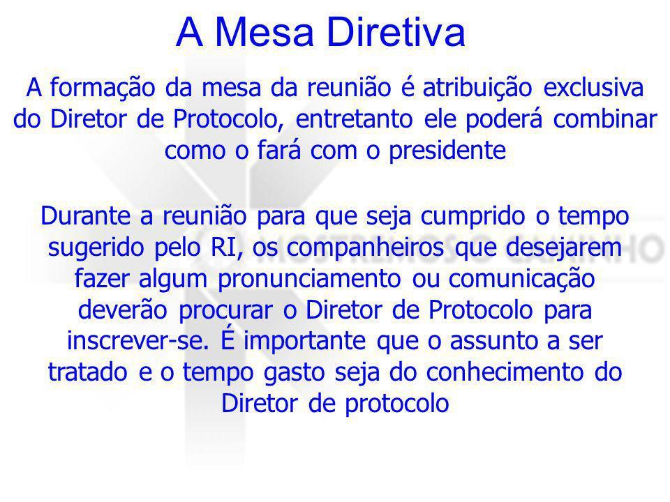 A Mesa Diretiva A formação da mesa diretiva ou mesa da presidência deve obedecer sempre o bom senso.