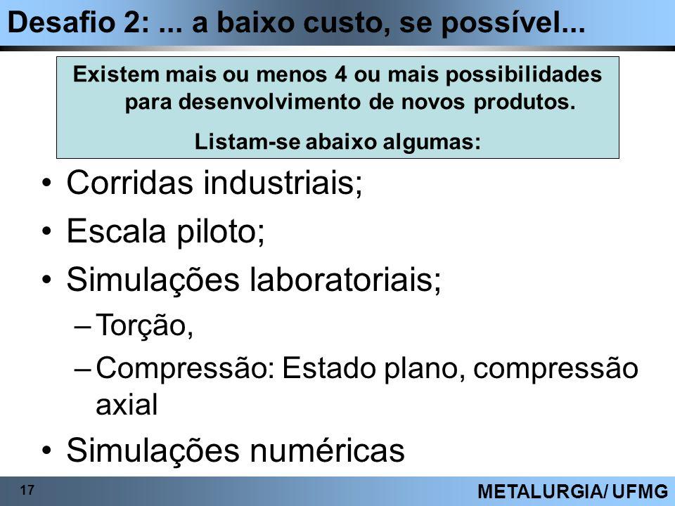 Desafio 2:... a baixo custo, se possível... 17 METALURGIA/ UFMG Corridas industriais; Escala piloto; Simulações laboratoriais; –Torção, –Compressão: E