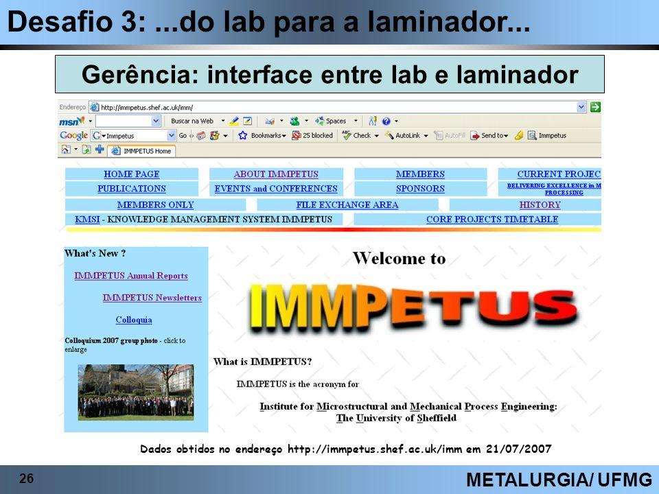 Desafio 3:...do lab para a laminador... 26 METALURGIA/ UFMG Gerência: interface entre lab e laminador Dados obtidos no endereço http://immpetus.shef.a