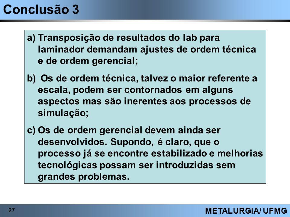 Conclusão 3 27 METALURGIA/ UFMG a)Transposição de resultados do lab para laminador demandam ajustes de ordem técnica e de ordem gerencial; b) Os de or