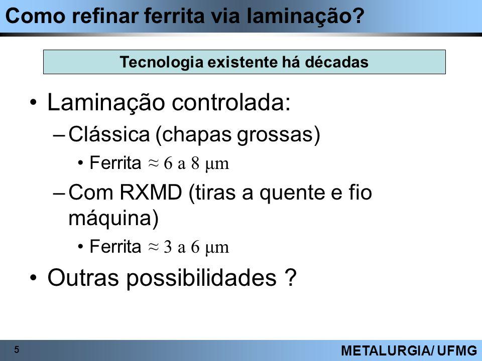 Como refinar ferrita via laminação? 5 METALURGIA/ UFMG Laminação controlada: –Clássica (chapas grossas) Ferrita 6 a 8 μm –Com RXMD (tiras a quente e f