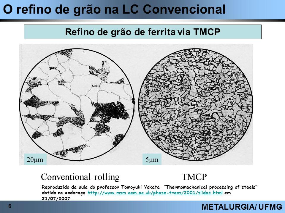 O refino de grão na LC Convencional 6 METALURGIA/ UFMG Refino de grão de ferrita via TMCP 20μm5μm Conventional rollingTMCP Reproduzido da aula do prof