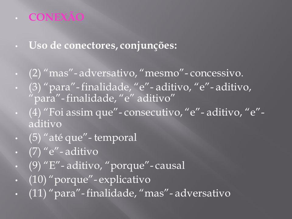 CONEXÃO Uso de conectores, conjunções: (2) mas- adversativo, mesmo- concessivo. (3) para- finalidade, e- aditivo, e- aditivo, para- finalidade, e adit