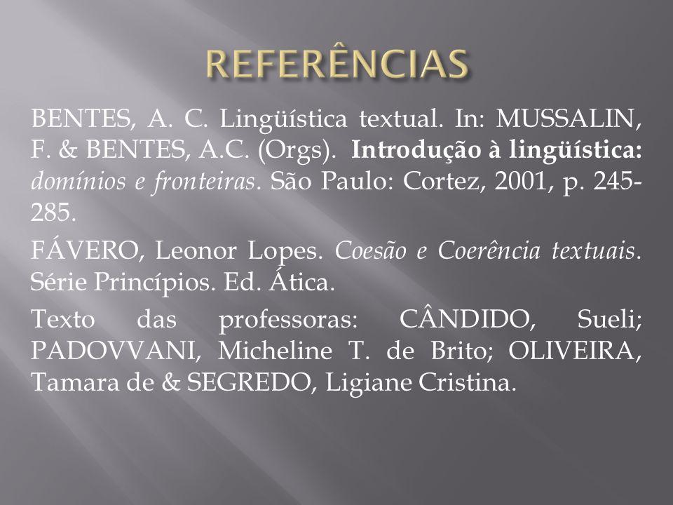 BENTES, A. C. Lingüística textual. In: MUSSALIN, F. & BENTES, A.C. (Orgs). Introdução à lingüística: domínios e fronteiras. São Paulo: Cortez, 2001, p