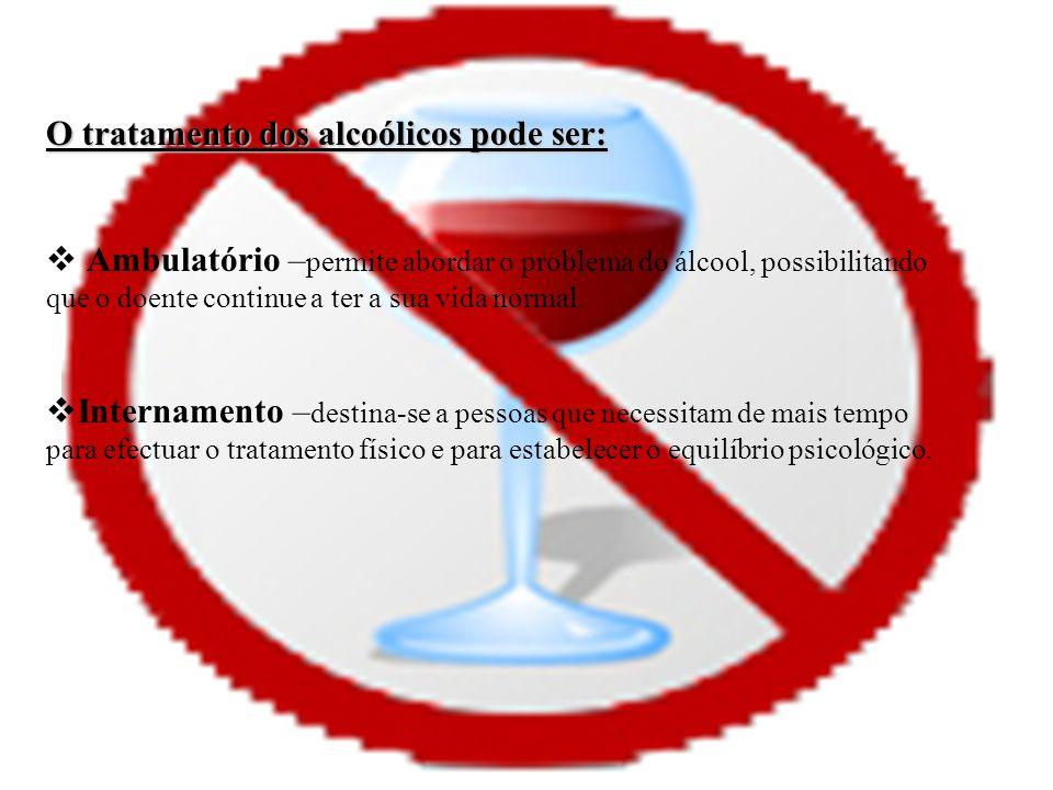 O tratamento dos alcoólicos pode ser: Ambulatório – permite abordar o problema do álcool, possibilitando que o doente continue a ter a sua vida normal.