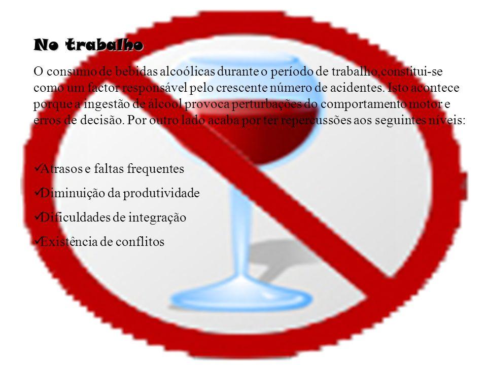 No trabalho O consumo de bebidas alcoólicas durante o período de trabalho,constitui-se como um factor responsável pelo crescente número de acidentes.