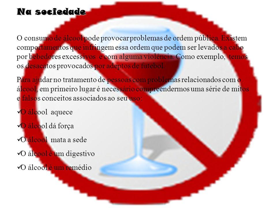 Na sociedade O consumo de álcool pode provocar problemas de ordem pública.