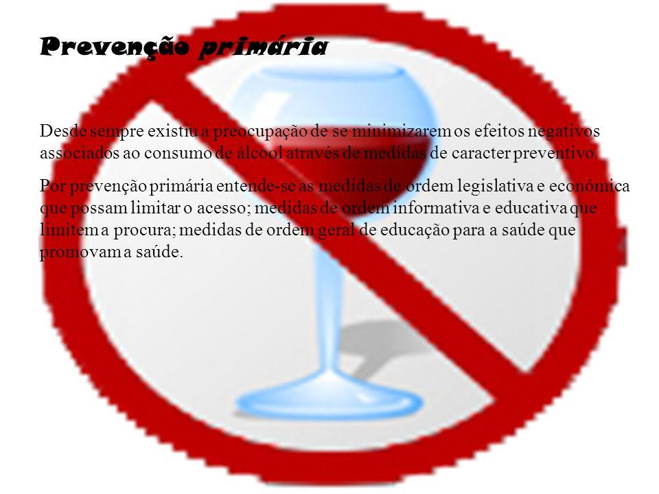 Prevenção primária Desde sempre existiu a preocupação de se minimizarem os efeitos negativos associados ao consumo de álcool através de medidas de caracter preventivo.