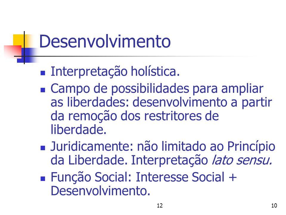 1210 Desenvolvimento Interpretação holística. Campo de possibilidades para ampliar as liberdades: desenvolvimento a partir da remoção dos restritores