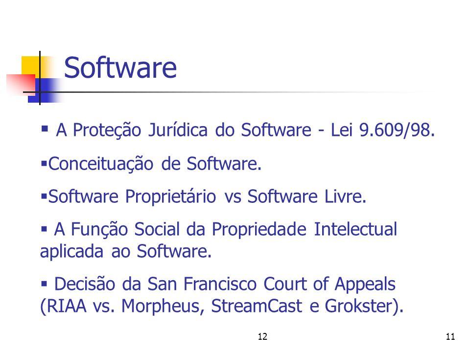 1211 Software A Proteção Jurídica do Software - Lei 9.609/98. Conceituação de Software. Software Proprietário vs Software Livre. A Função Social da Pr