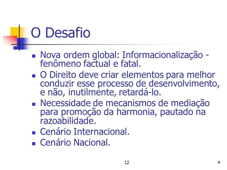 124 O Desafio Nova ordem global: Informacionalização - fenômeno factual e fatal. O Direito deve criar elementos para melhor conduzir esse processo de