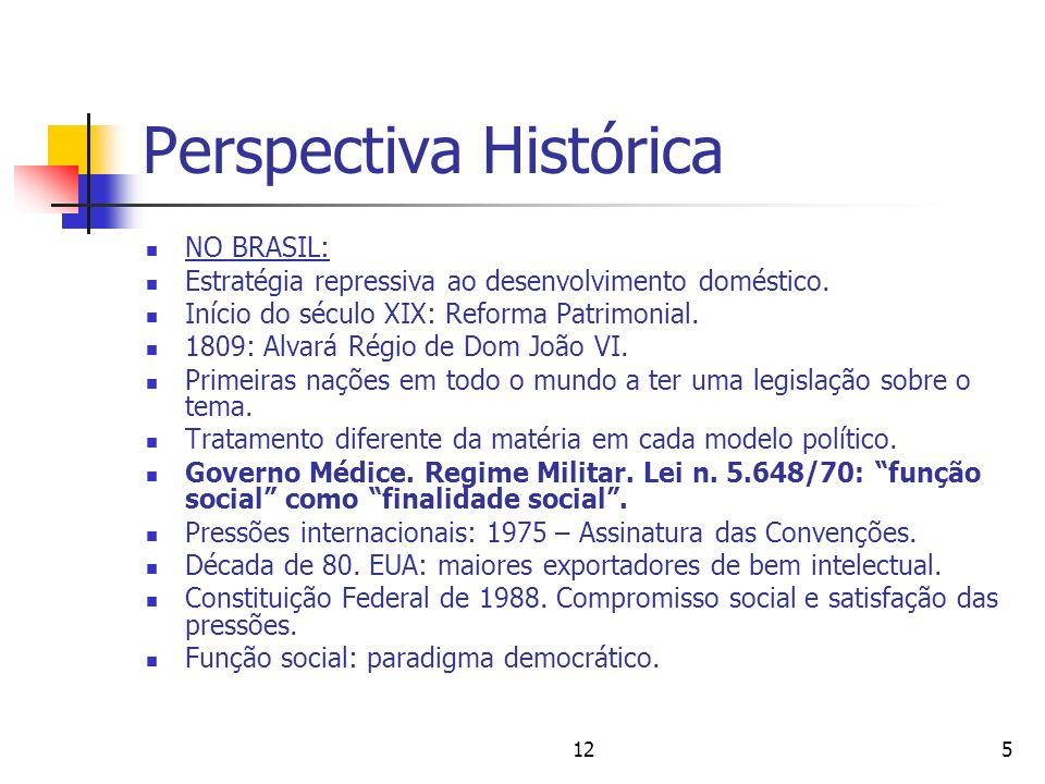 125 Perspectiva Histórica NO BRASIL: Estratégia repressiva ao desenvolvimento doméstico. Início do século XIX: Reforma Patrimonial. 1809: Alvará Régio