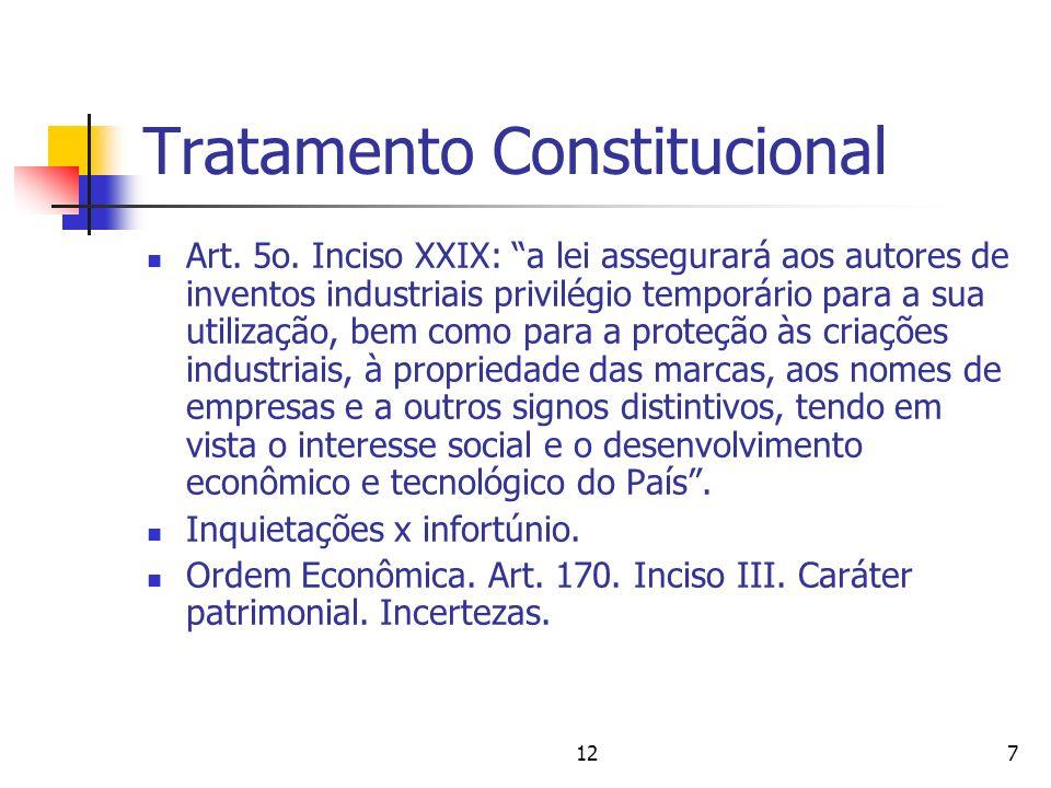 127 Tratamento Constitucional Art. 5o. Inciso XXIX: a lei assegurará aos autores de inventos industriais privilégio temporário para a sua utilização,