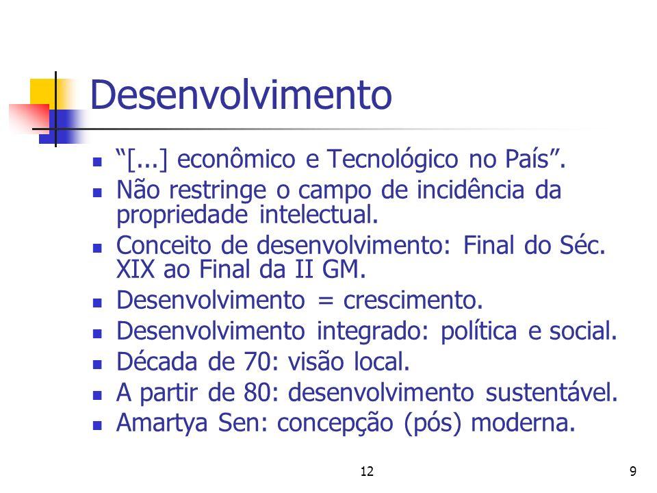 129 Desenvolvimento [...] econômico e Tecnológico no País. Não restringe o campo de incidência da propriedade intelectual. Conceito de desenvolvimento