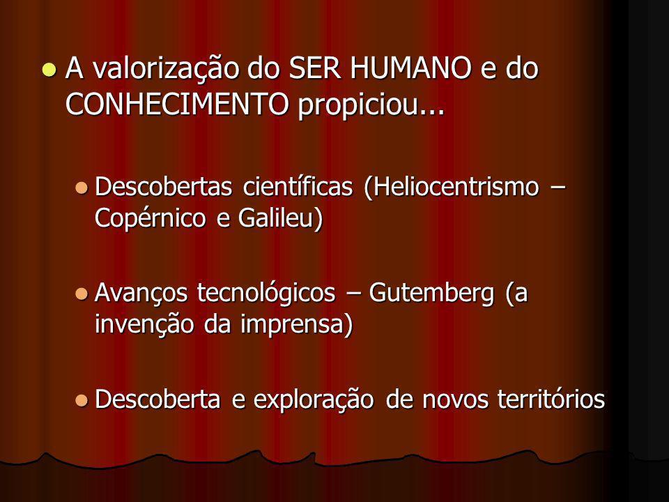 A valorização do SER HUMANO e do CONHECIMENTO propiciou... A valorização do SER HUMANO e do CONHECIMENTO propiciou... Descobertas científicas (Helioce