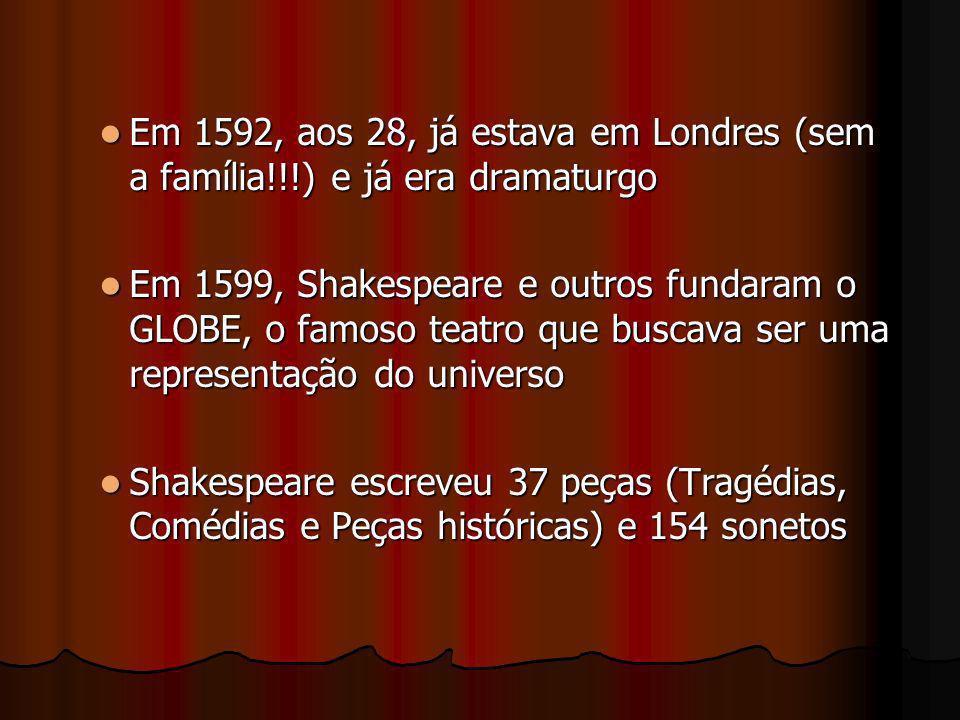 Em 1592, aos 28, já estava em Londres (sem a família!!!) e já era dramaturgo Em 1592, aos 28, já estava em Londres (sem a família!!!) e já era dramatu