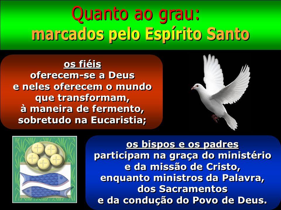 os fiéis oferecem-se a Deus e neles oferecem o mundo que transformam, à maneira de fermento, sobretudo na Eucaristia; os bispos e os padres participam