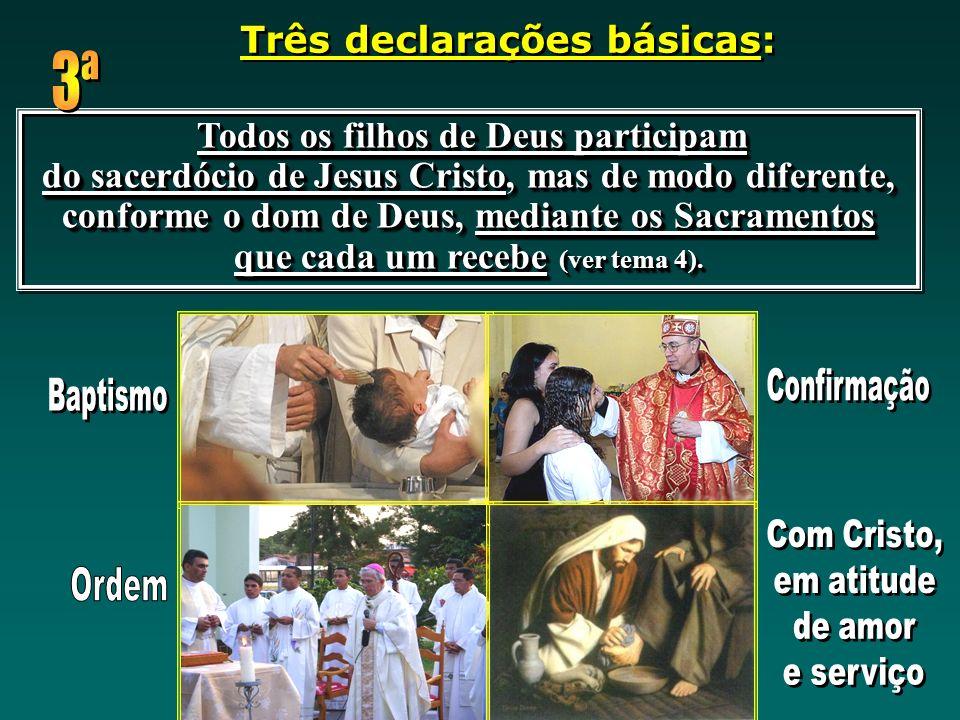 Todos os filhos de Deus participam do sacerdócio de Jesus Cristo, mas de modo diferente, conforme o dom de Deus, mediante os Sacramentos que cada um r