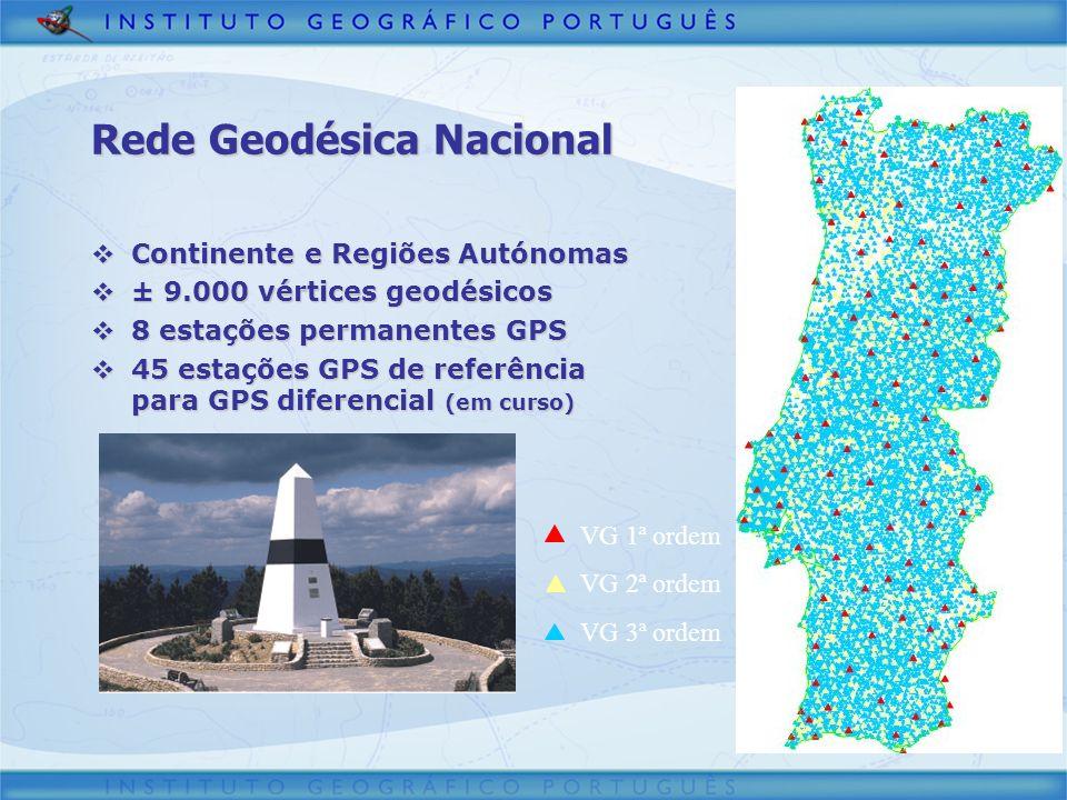 Rede Geodésica Nacional Continente e Regiões Autónomas Continente e Regiões Autónomas ± 9.000 vértices geodésicos ± 9.000 vértices geodésicos 8 estaçõ