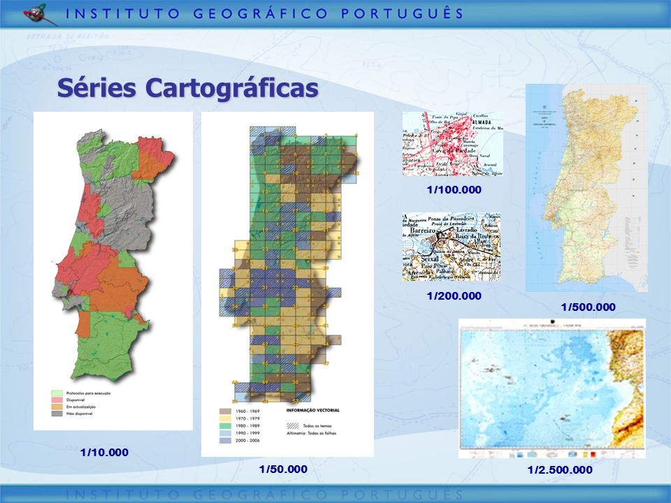 Séries Cartográficas 1/10.000 1/50.000 1/100.000 1/200.000 1/500.000 1/2.500.000
