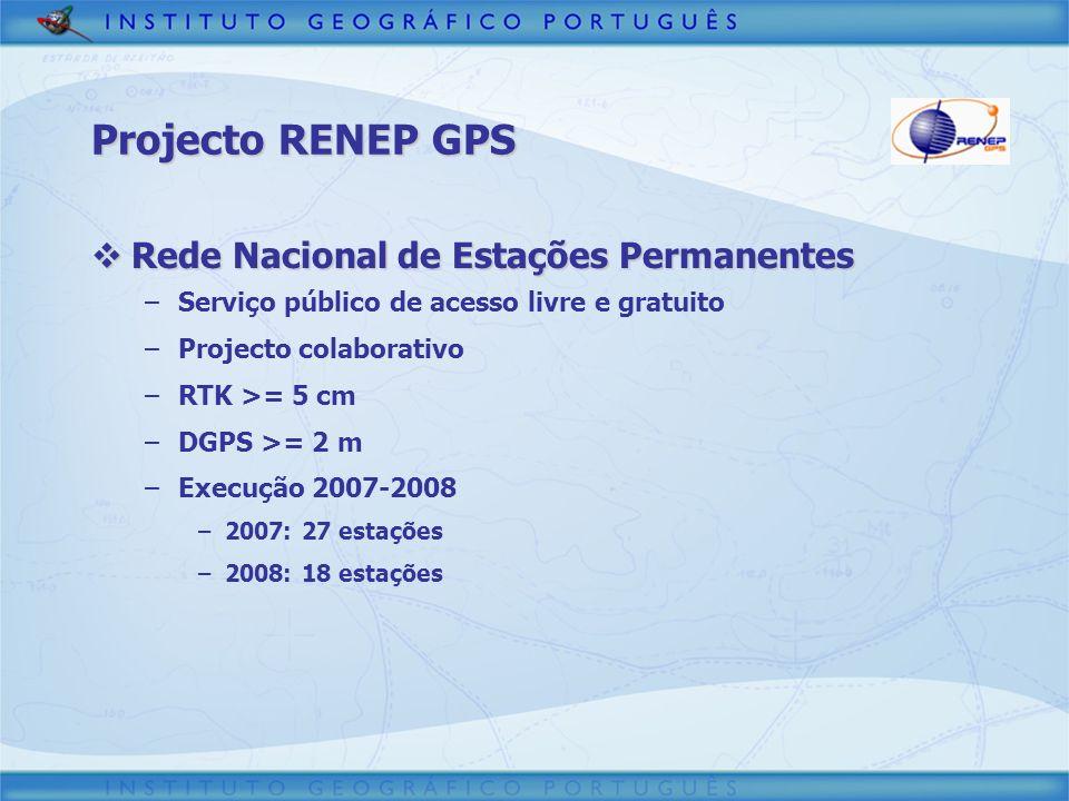 Projecto RENEP GPS Rede Nacional de Estações Permanentes Rede Nacional de Estações Permanentes –Serviço público de acesso livre e gratuito –Projecto c