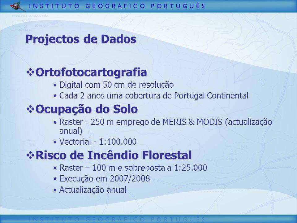 Ortofotocartografia Ortofotocartografia Digital com 50 cm de resolução Cada 2 anos uma cobertura de Portugal Continental Ocupação do Solo Ocupação do