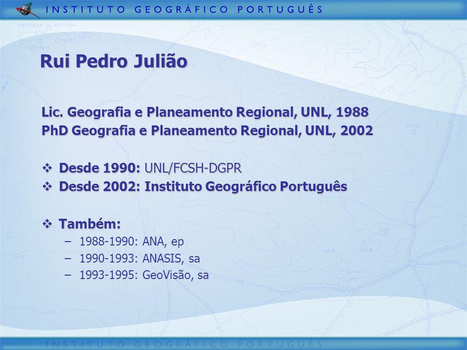 Tópicos Enquadramento Enquadramento –Portugal –Instituto Geográfico Português Cartografia Cartografia –Informação Oficial –Legislação –Projectos Cadastro Cadastro –Antecedentes –Projecto SiNErGIC Infra-estrutura de Informação Geográfica Infra-estrutura de Informação Geográfica –Conceitos –Projecto SNIG
