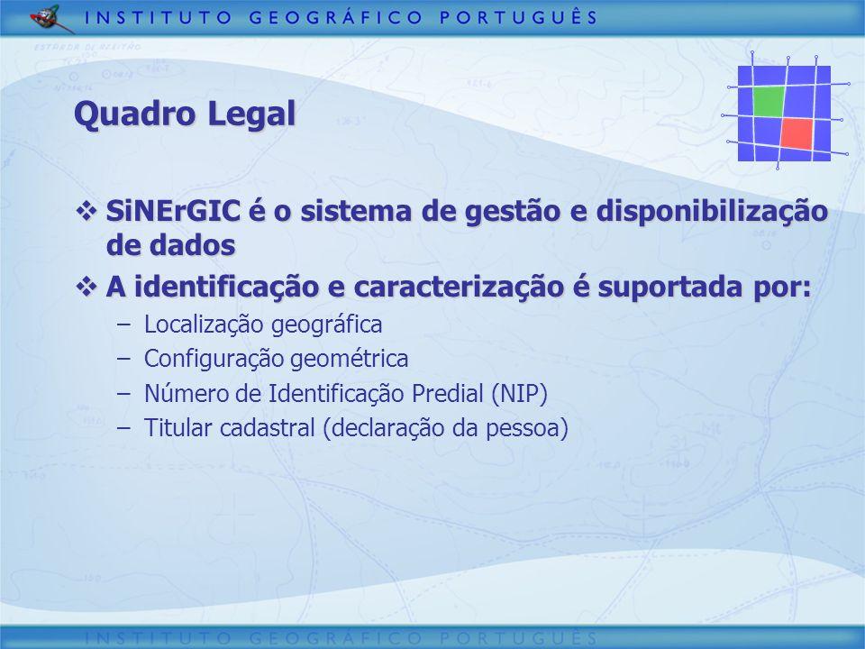Quadro Legal SiNErGIC é o sistema de gestão e disponibilização de dados SiNErGIC é o sistema de gestão e disponibilização de dados A identificação e c