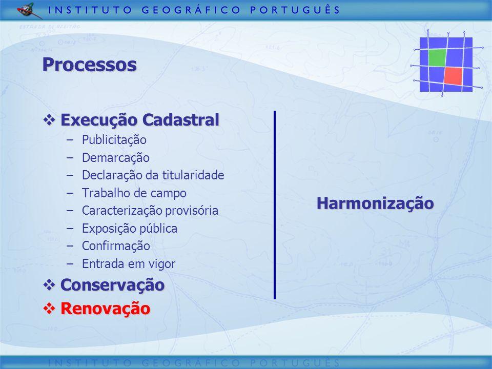 Processos Execução Cadastral Execução Cadastral –Publicitação –Demarcação –Declaração da titularidade –Trabalho de campo –Caracterização provisória –E