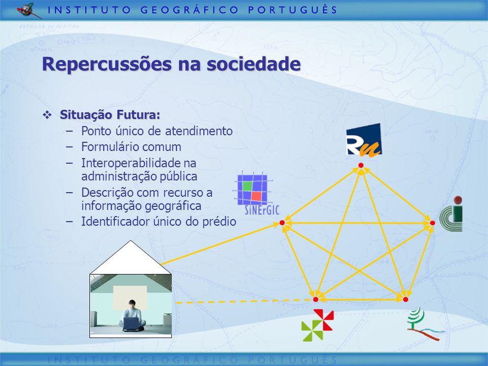 Repercussões na sociedade Situação Futura: Situação Futura: –Ponto único de atendimento –Formulário comum –Interoperabilidade na administração pública