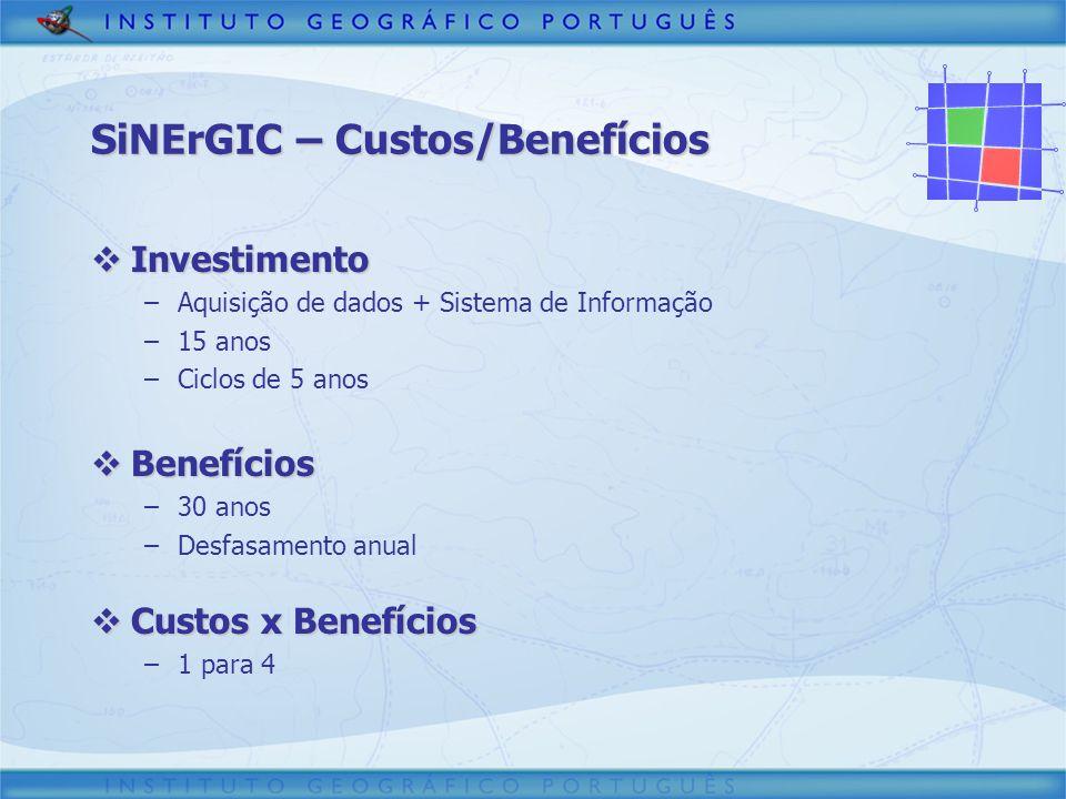SiNErGIC – Custos/Benefícios Investimento Investimento –Aquisição de dados + Sistema de Informação –15 anos –Ciclos de 5 anos Benefícios Benefícios –3