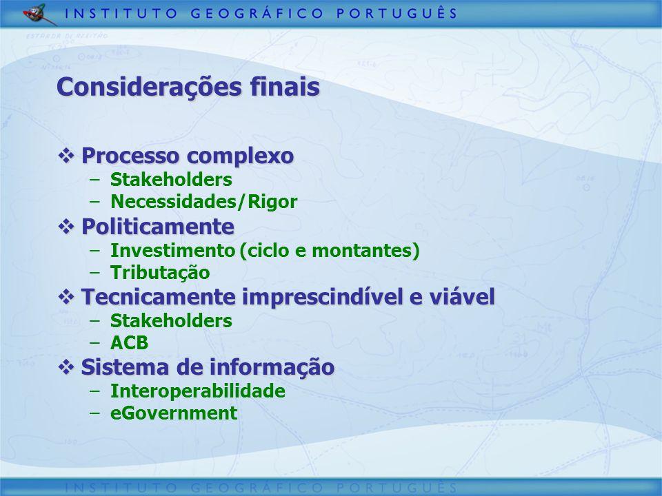 Considerações finais Processo complexo Processo complexo –Stakeholders –Necessidades/Rigor Politicamente Politicamente –Investimento (ciclo e montante