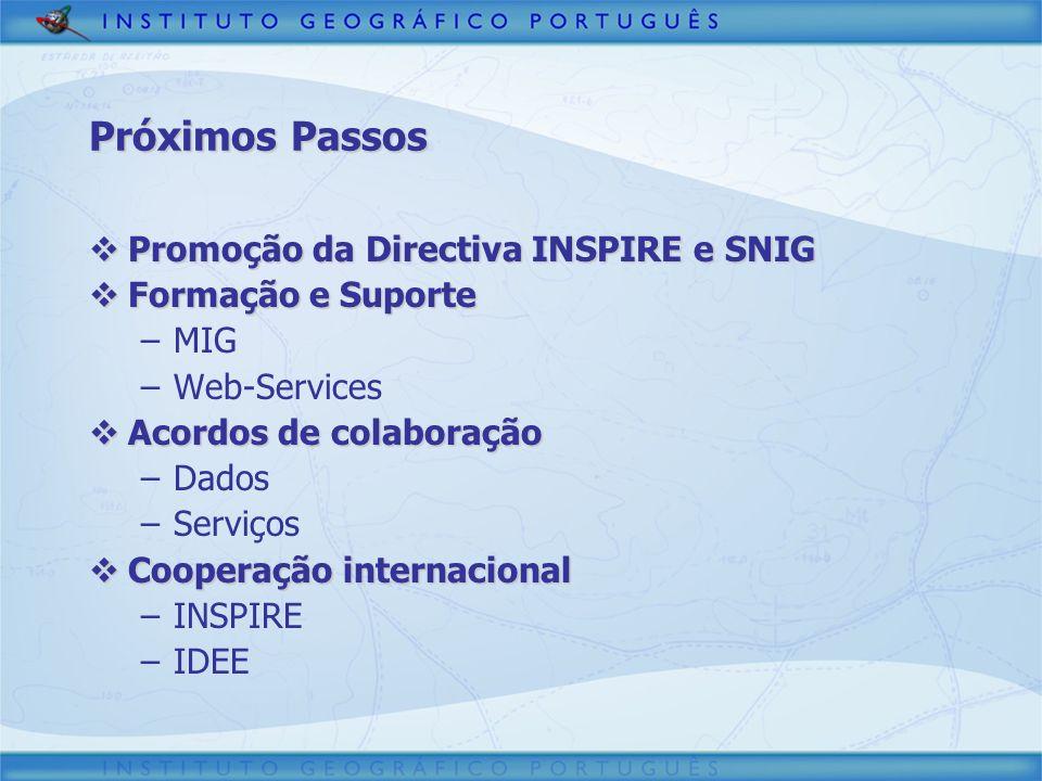 Promoção da Directiva INSPIRE e SNIG Promoção da Directiva INSPIRE e SNIG Formação e Suporte Formação e Suporte –MIG –Web-Services Acordos de colabora