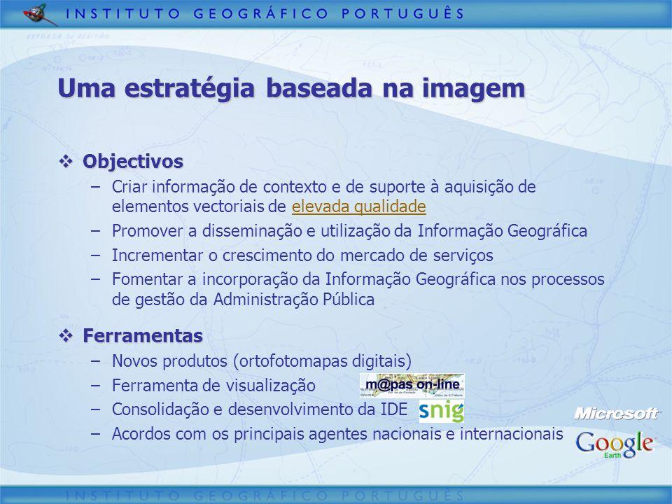 Uma estratégia baseada na imagem Objectivos Objectivos –Criar informação de contexto e de suporte à aquisição de elementos vectoriais de elevada quali