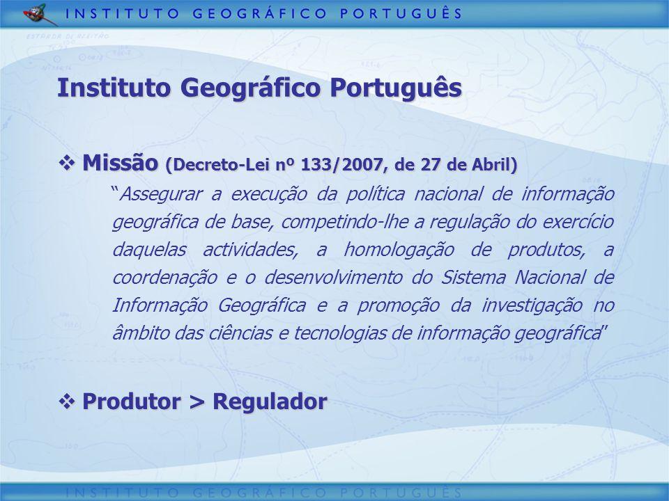 Instituto Geográfico Português Estrutura (Portaria nº 527/2007, de 30 de Abril) Estrutura (Portaria nº 527/2007, de 30 de Abril) Director-Geral Subdirector-Geral Cadastro Investigação e Gestão de Informação Geográfica Geodesia e Cartografia Planeamento e Regulação Gestão de Recursos Internos Delegações Regionais