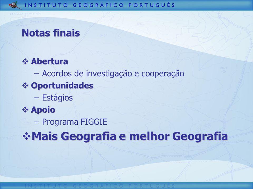 Abertura Abertura –Acordos de investigação e cooperação Oportunidades Oportunidades –Estágios Apoio Apoio –Programa FIGGIE Mais Geografia e melhor Geo