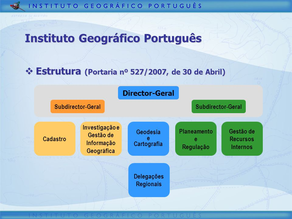 Instituto Geográfico Português Estrutura (Portaria nº 527/2007, de 30 de Abril) Estrutura (Portaria nº 527/2007, de 30 de Abril) Director-Geral Subdir