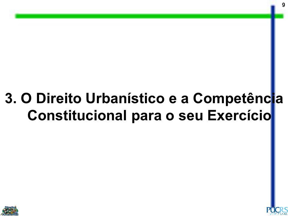 10 A Constituição de 1988 tratou expressamente do Direito Urbanístico; estabeleceu competências expressas sobre o meio ambiente das cidades.