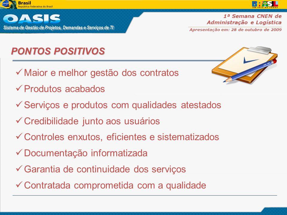 1ª Semana CNEN de Administração e Logística Apresentação em: 28 de outubro de 2009 Maior e melhor gestão dos contratos Produtos acabados Serviços e pr