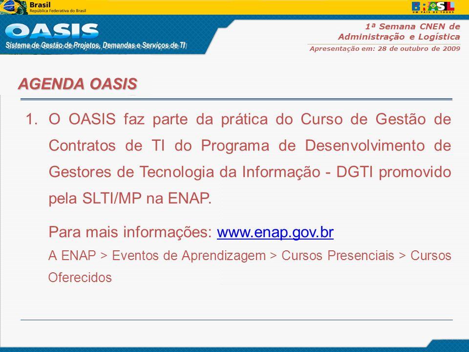 1ª Semana CNEN de Administração e Logística Apresentação em: 28 de outubro de 2009 1.O OASIS faz parte da prática do Curso de Gestão de Contratos de T