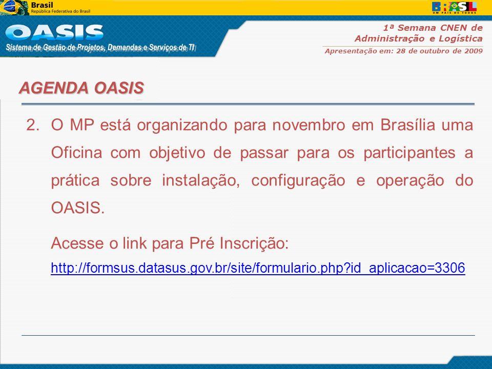 1ª Semana CNEN de Administração e Logística Apresentação em: 28 de outubro de 2009 2.O MP está organizando para novembro em Brasília uma Oficina com o