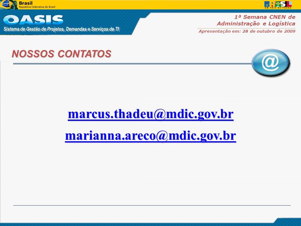 1ª Semana CNEN de Administração e Logística Apresentação em: 28 de outubro de 2009 NOSSOS CONTATOS marcus.thadeu@mdic.gov.br marianna.areco@mdic.gov.b