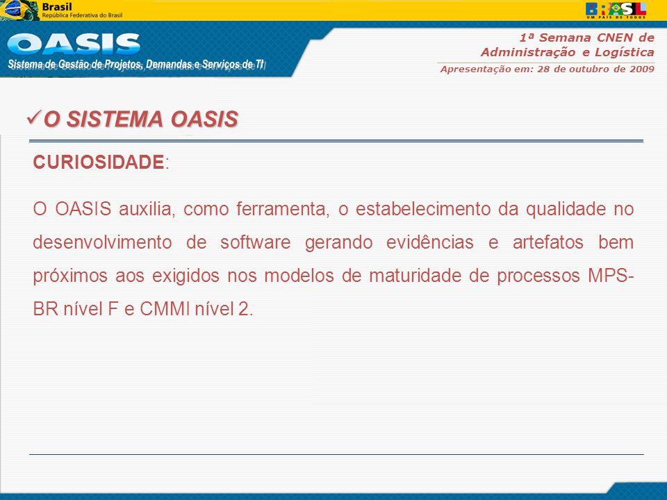 1ª Semana CNEN de Administração e Logística Apresentação em: 28 de outubro de 2009 O OASIS está disponível como software público desde 27 de agosto de 2008 no Portal do Software Público Brasileiro www.softwarepublico.gov.br Hoje, sua comunidade conta com mais de 2.700 membros, e em apenas 2 meses, registra um recorde de adesão.