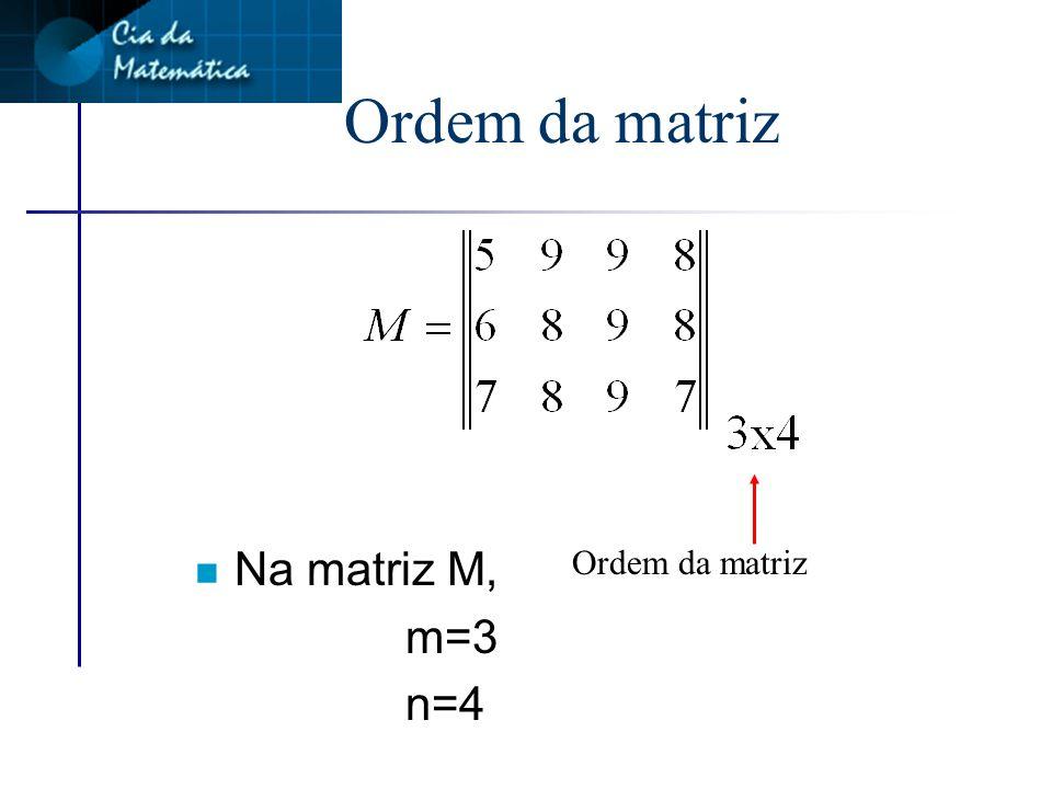 Linguagem matemática Dados 2 números m e n naturais e não nulos, chama-se matriz m por n (mxn) a uma tabela cujos elementos estão dispostos em m linhas e n colunas